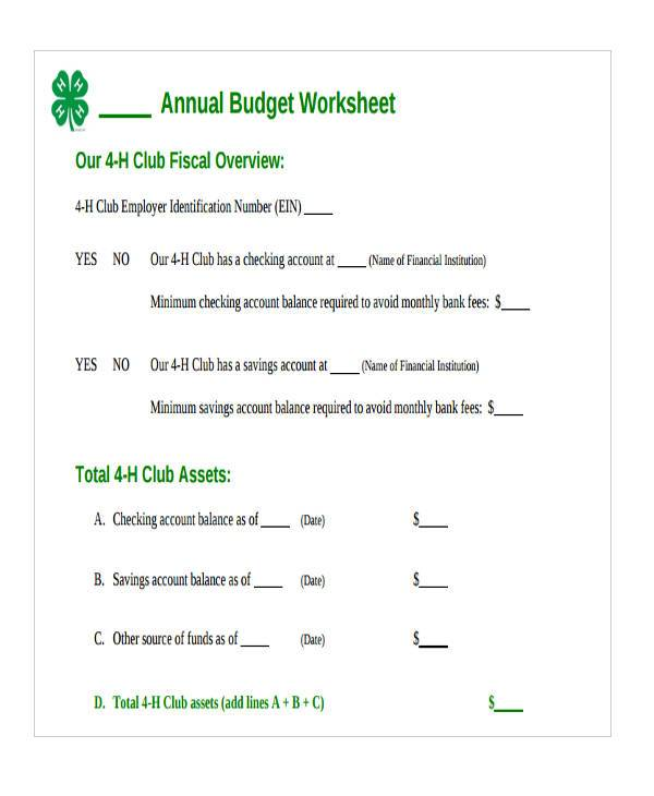 annual budget worksheet form
