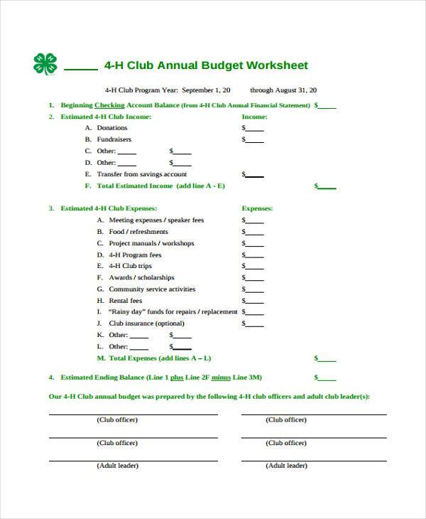 Annual Budget Worksheet Vaydileforic