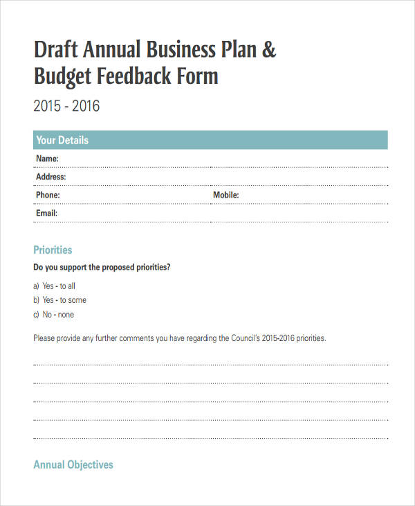 annual business plan form