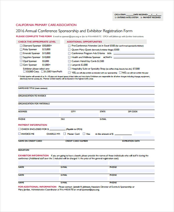 annual conference exhibitor registration form