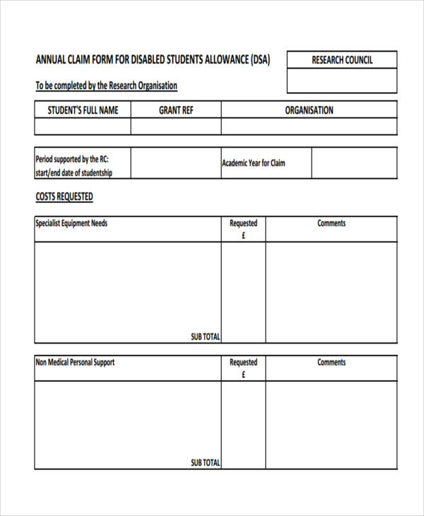 annual disability student allowance claim form