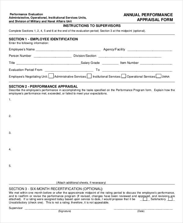 6+ Annual Performance Appraisal Form - Free Sample, Example