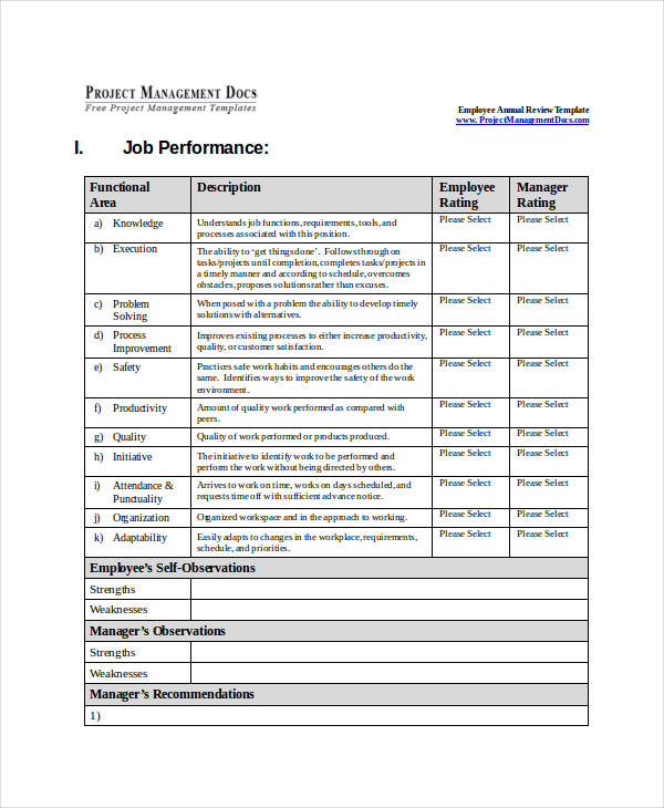 annual employee review evaluation form