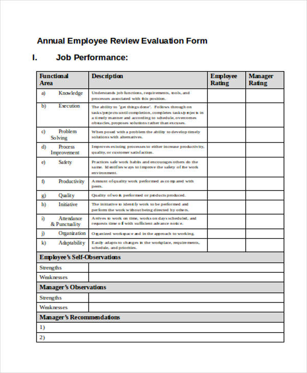 Printable employee evaluation form for Yearly employee review template