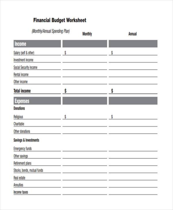 annual financial household budget form