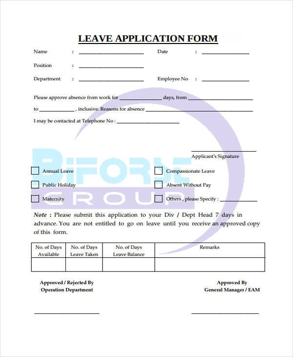 Application Forms Format – Leave Application Form for Employee