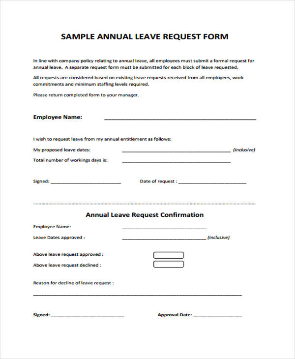 Sample Leave Request Form School Vacation Letter Template 8  Leave Request Form Template