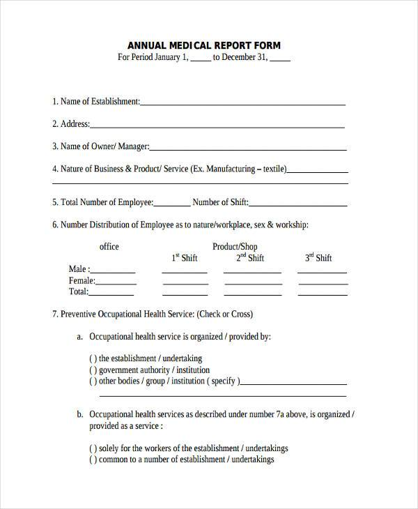 annual medical report form1