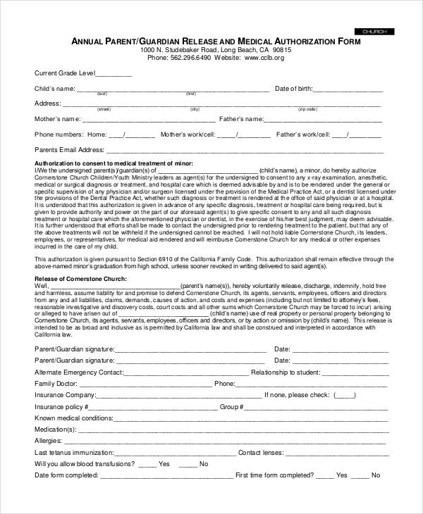 annual parent medical authorization form