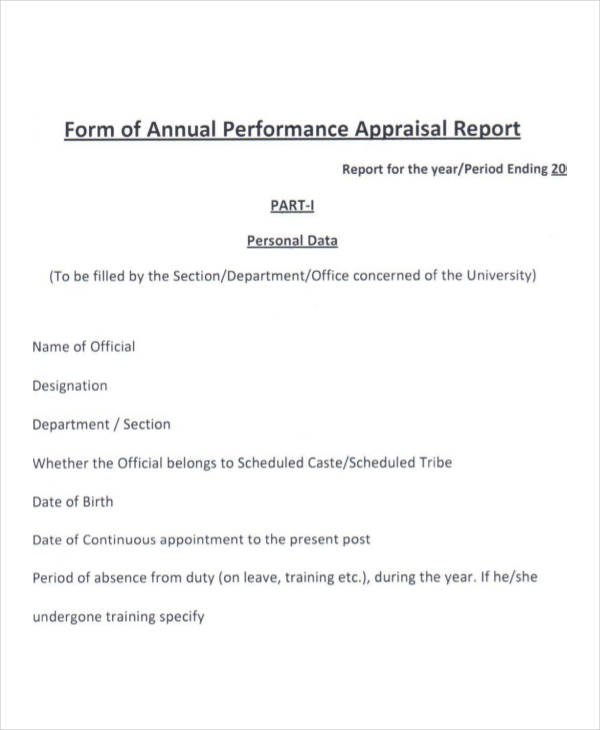 annual performance appraisal report form