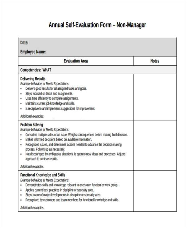 annual self evaluation form
