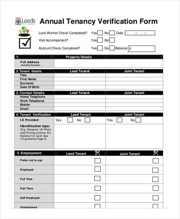 annual tenancy verification form