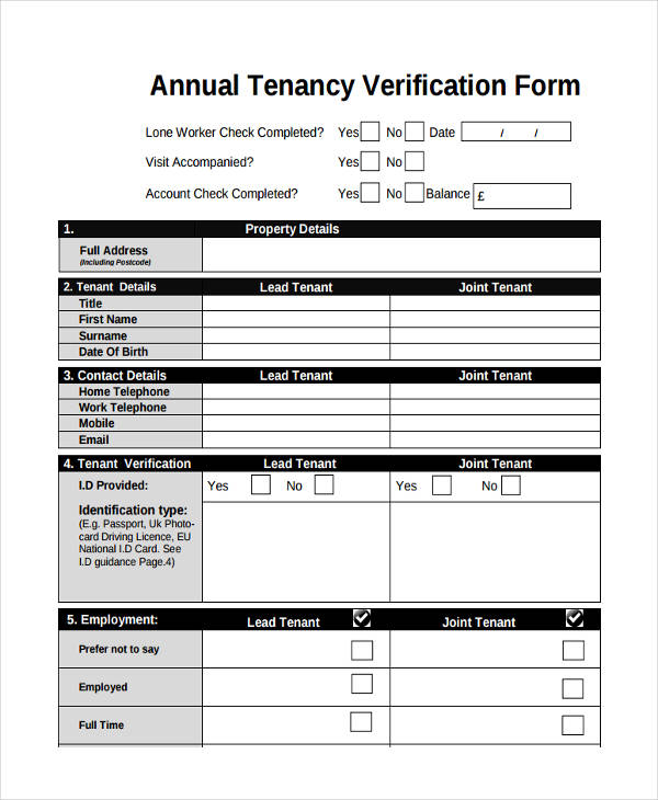 annual tenant verification form