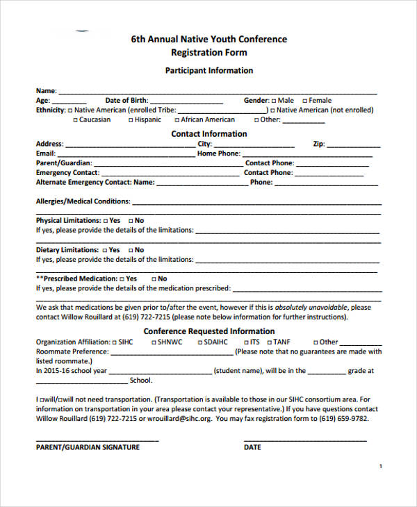 annual youth conference registration form