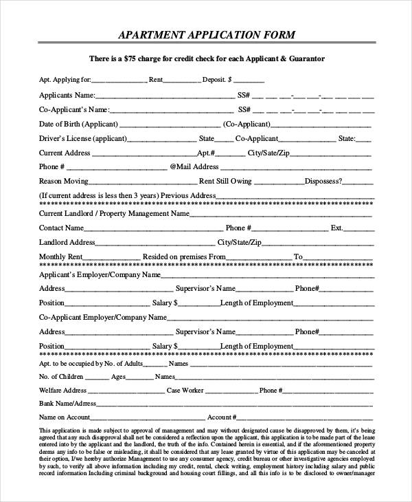 9 Apartment Application Form Samples Free Sample Example – Apartment Application