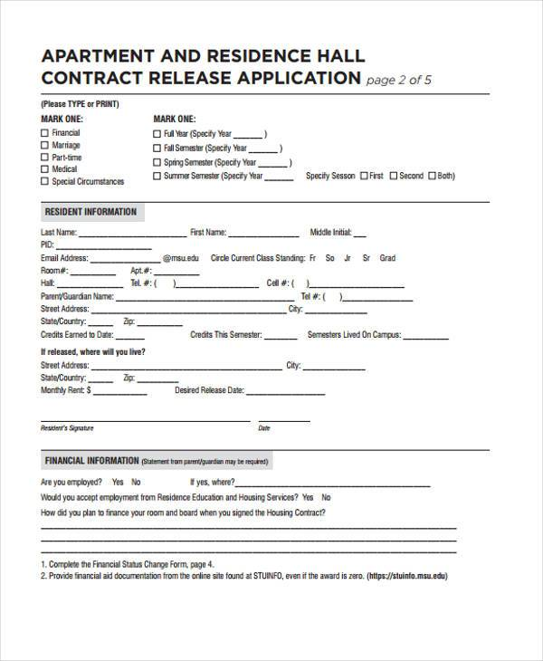 apartment contract release form