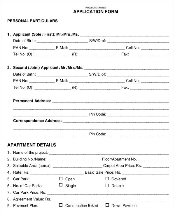 Apartment Details Application Form