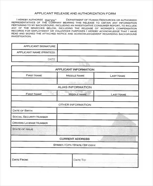 applicant release authorization form