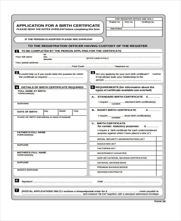 41 Sample Certificate Forms – Birth Certificate Sample