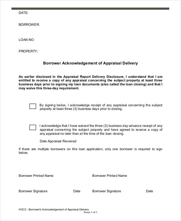 appraisal acknowledgement disclosure form
