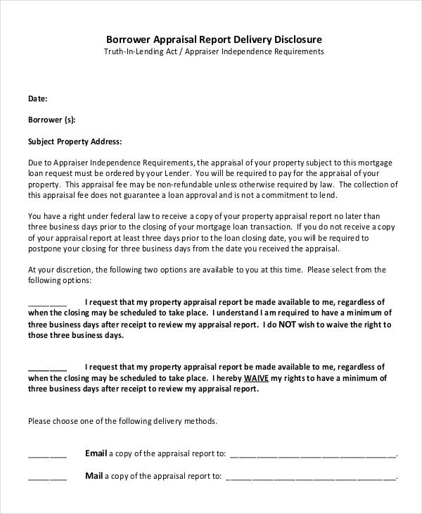 appraisal report delivery disclosure form