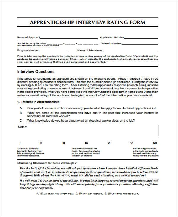 apprenticeship interview evaluation form