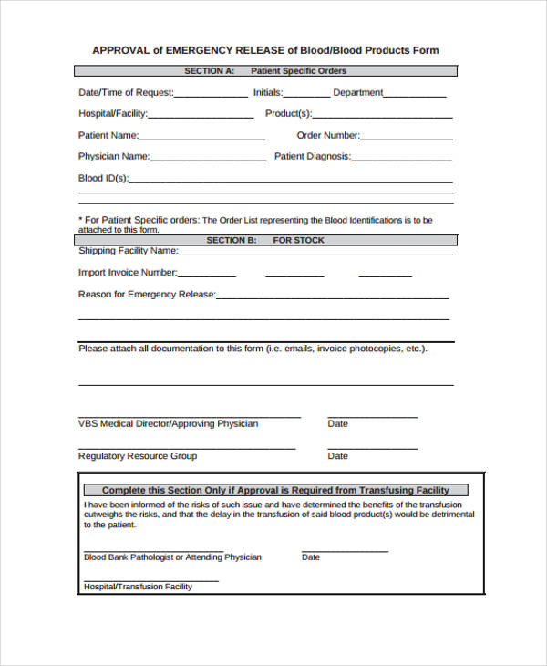 Emergency Release Form Example