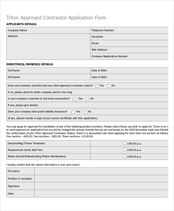 approved contractor application form