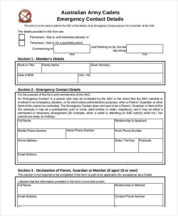 army emergency contact details form1