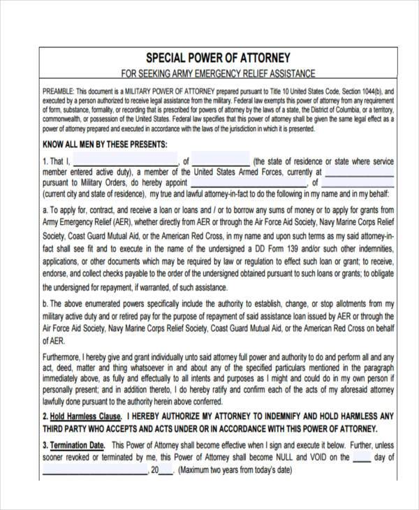 army special power of attorney form