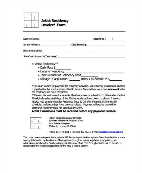 artist residency invoice form
