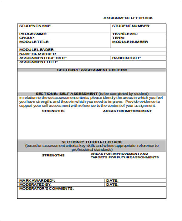assignment feedback form in doc