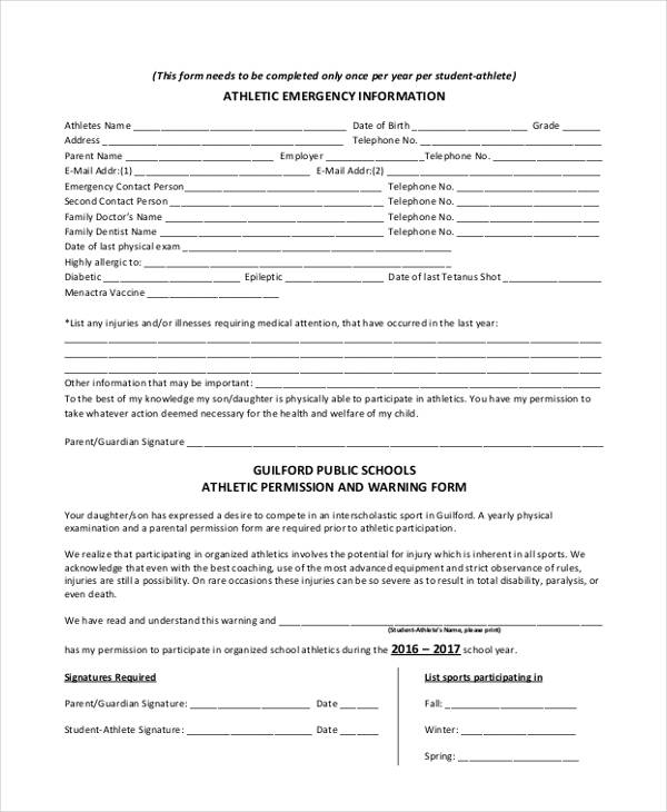 athletic permission emergency contact form