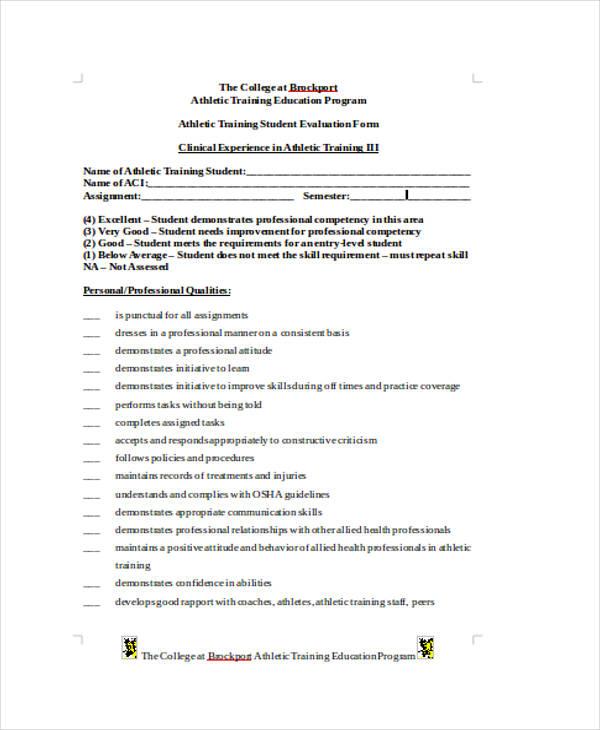 athletic training student evaluation form