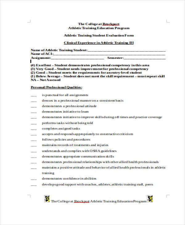 athletic training student evaluation form1