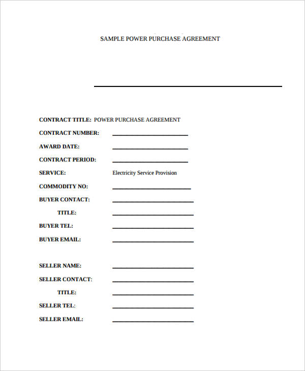 attachment power purchase agreement form
