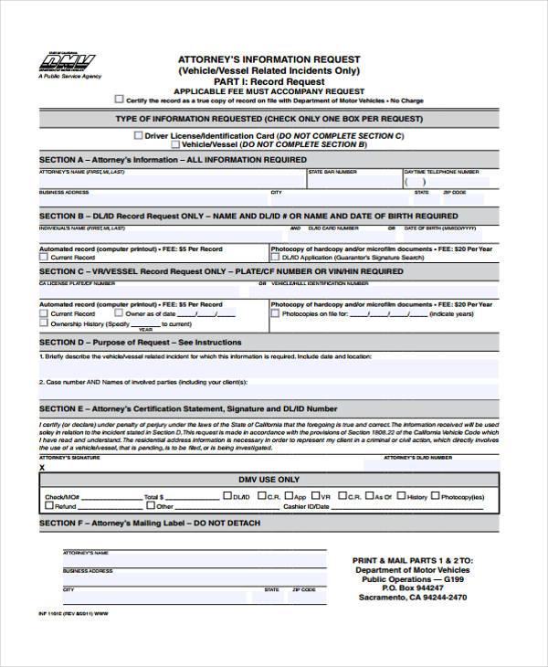 attorney information request form