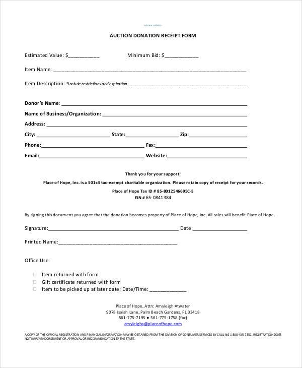 auction donation receipt form1