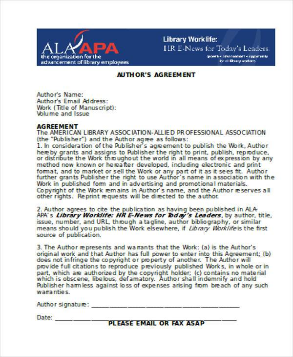 author agreement form free