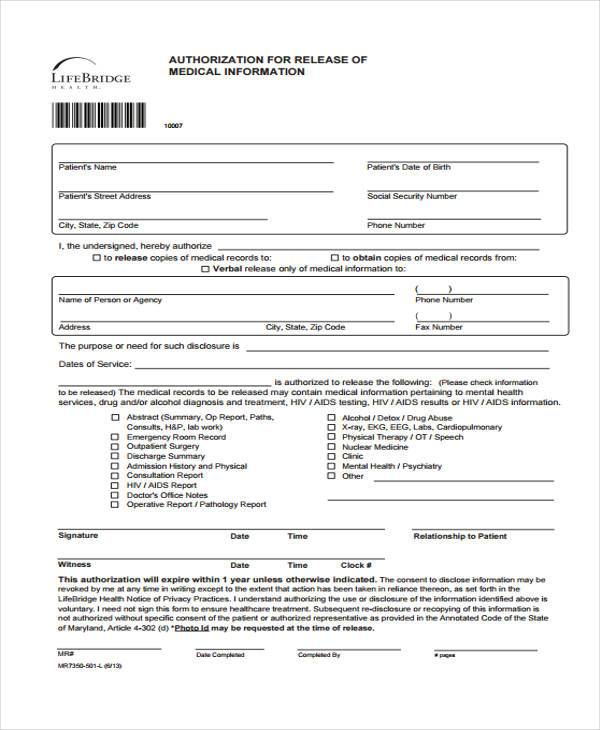 authorization for release of medical information