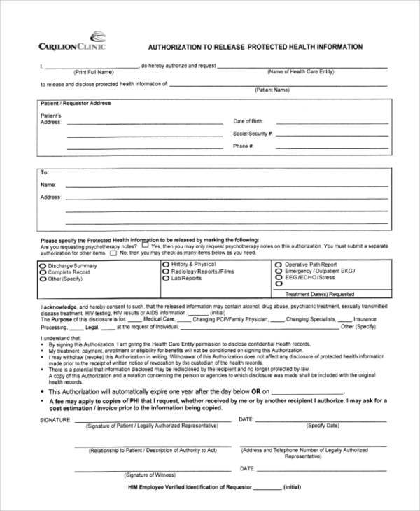 authorization release protected health form