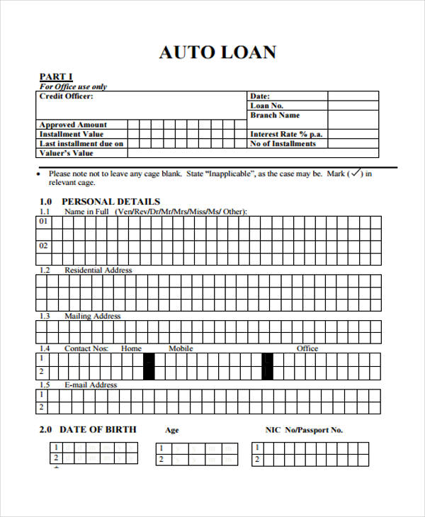 auto loan agreement format