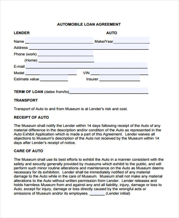 Auto Mobile Loan Agreement Form1