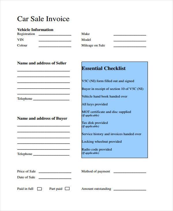 auto sales invoice form