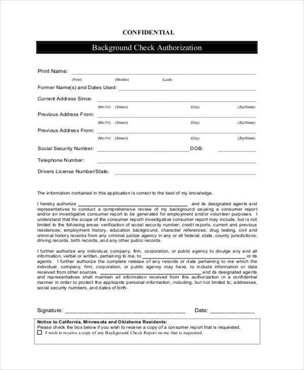 12 check authorization form sample free sample example format download. Black Bedroom Furniture Sets. Home Design Ideas