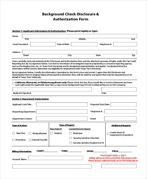 background check disclosure authorization form
