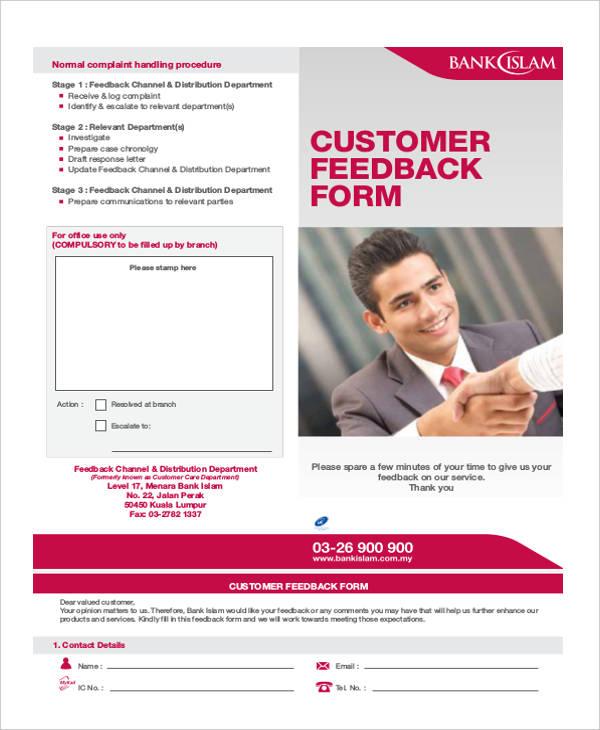 bank customer feedback form in pdf