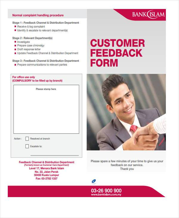 bank customer feedback form