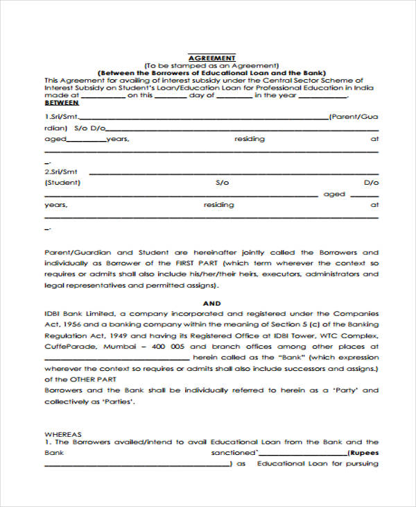 Charming Education Bank Loan Agreement In PDF  Bank Loan Agreement Format