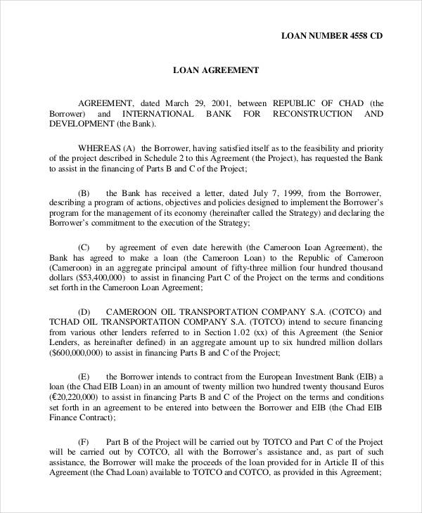 Loan Agreement Forms In Pdf